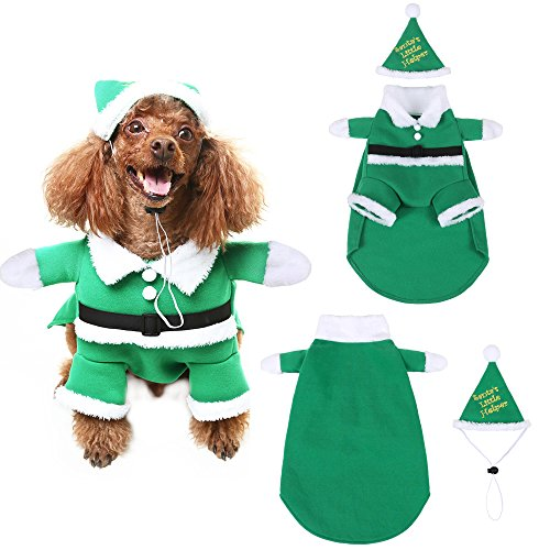 Christmas Pet Costumes.Christmas Dog Costumes With Hat Scenereal Cute Santa Claus Pet Clothes Suit Xmas Outfits For Small Medium Dogs Cats Puppy Cosplay Holiday Gifts
