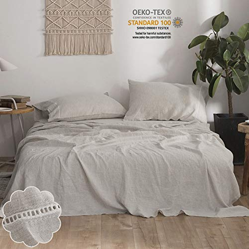 Simple&Opulence 100% Stone Washed Linen 4pcs Hollowed-Out Design Solid Sheet Set (Queen, Linen)