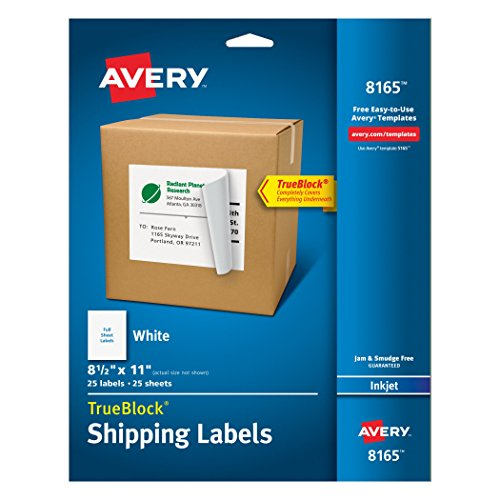 Avery White Full-Sheet Labels for Inkjet Printers, Pack of 25 Sheets (8165)