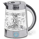 Zeppoli Electric Kettle (BPA Free) - Fast Boiling Glass Tea Kettle (1.7L) Cordless, Stainless Steel Finish Hot Water Kettle - Glass Tea Kettle, Tea Pot - Hot Water Heater Dispenser