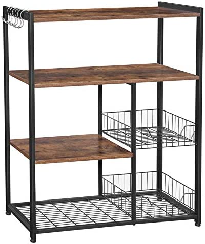 VASAGLE ALINRU Kitchen Baker's Rack, Industrial Kitchen Shelf with 2 Mesh Baskets and 6 Hooks, Microwave Oven Stand, Rustic Brown UKKS96X