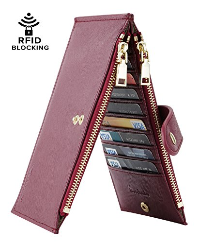 Travelambo Womens Walllet RFID Blocking Bifold Multi Card Case Wallet with Zipper Pocket (synethic leather wine red)