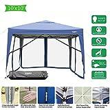 VINGLI 10'x10' EZ POP UP Canopy Mesh Tent w/ 4pcs Anti-Mosquito Removable Sidewalls, 99% Anti-UV, Screen House Canopy (10'x10' w/ 4 Sidewalls | Blue)