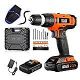 Cordless Drill Driver LOMVUM 20V Power Drill with 2 Lithium Batteries, 1 Faster Charger, 2-Speed 3/8' Keyless Chuck, Magnetic Flexible Shaft,LED, Waist Bag, Compact Case, Extra 46pcs Accessories