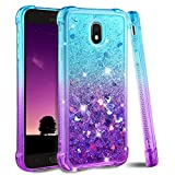 Galaxy J7 2018 Case,Galaxy J7 Refine Case,Galaxy J7 Star Case,J7 Crown Case,Galaxy J7 V J7V 2nd Gen Case,J7 Aura Case,Ruky Glitter Flowing Liquid Phone Case for Samsung Galaxy J7 2018 (Teal Purple)
