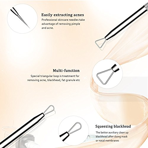 BESTOPE Blackhead Remover Pimple Comedone Extractor Tool Best Acne Removal Kit - Treatment for Blemish, Whitehead Popping, Zit Removing for Risk Free Nose Face Skin with Metal Case 5