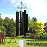 Loving Basso Wind Chimes Outdoor Large Deep Tone,45In Sympathy Windchime Large with 6 Tubes Tuned Bass Tone,Memorial Wind Chimes Amazing Grace for Mom Dad,Garden Decor,(A Free Card) Matte Black