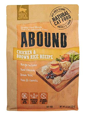 Abound Grain Free Natural Adult Cat & Kitten Dry Food, Chicken & Brown Rice, 3.5 lbs