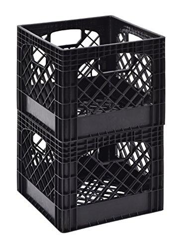 Muscle Rack MK131311-B2PK 11' x 13' x 13' Black Milk Crate (Pack of 2)
