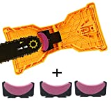 MQ Chainsaw Sharpener, Chain Saw Blade Sharpener with 3 Pcs Whetstone Portable Universal Easy Fast Chainsaw Teeth Sharpening Stone Grinder Tools Fit for 14 16 18 20 Inch Chain Saw Bar with Two Holes