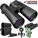 ZoomX Binoculars for Adults. 10x42 Waterproof Lightweight Compact Binocular Prism Bak4. HD Binocular for Bird Watching Hunting Traveling and Sightseeing with Smartphone Adapter, Grey