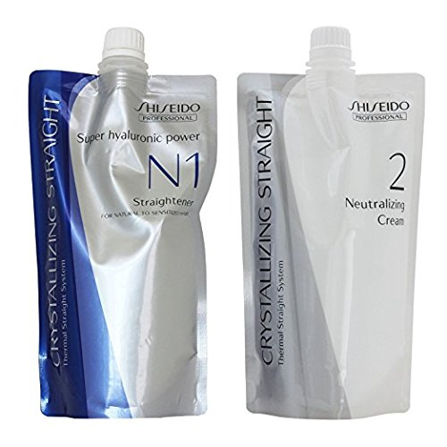 Hair Rebonding Shiseido Professional Crystallizing Hair Straightener (N1) + Neutralizer for Natural to Sensitized Hair(old version : Fine or Tinted hair)(N2)
