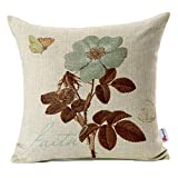 Monkeysell Lotus Leaf Butterfly Flowers Pattern Cotton Linen Throw Pillow Case Cushion Cover Home Sofa Decorative 18 X 18 Inch (S042A3)