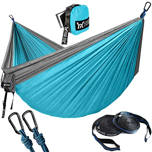 WINNER OUTFITTERS Double Camping Hammock with Straps - Lightweight Nylon Portable Hammock, Best Parachute Double Hammock for Backpacking, Camping, Travel, Beach, Yard. 118'(L) x 78'(W) Grey/Blue