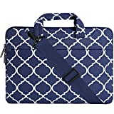 MOSISO Laptop Shoulder Bag Compatible with 15-15.6 inch MacBook Pro, Ultrabook Netbook Tablet, Canvas Geometric Pattern Protective Briefcase Carrying Handbag Sleeve Case Cover, Navy Blue Quatrefoil