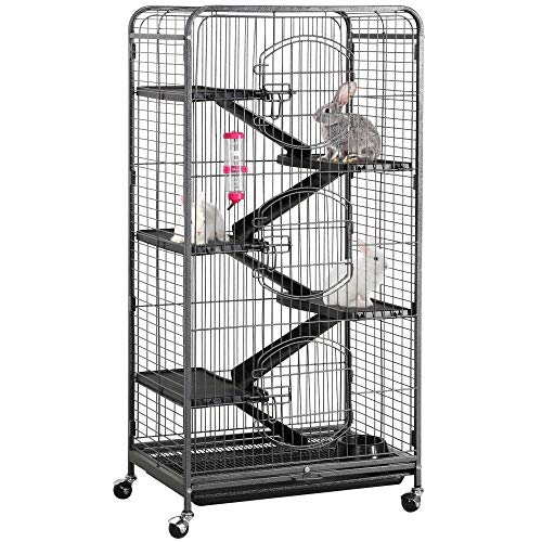 """Yaheetech 52"""" 6 Level Metal Rabbit Cage with 3 Front Doors/Feeder/Wheels Small Animal Cage Hutch for Ferret Bunny Indoor Outdoor,Black"""