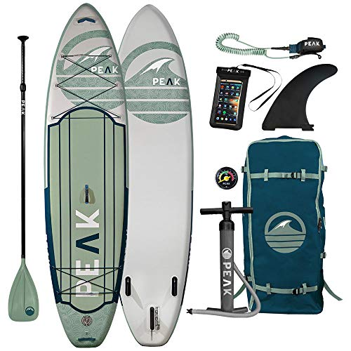 "Peak Expedition Inflatable Stand Up Paddle Board | 11' Long x 32"" Wide x 6"" Thick 