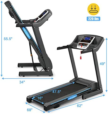 GYMAX Electric Folding Cardio Exercise Treadmill Fitness Jogging Running Machine Treadmill w/Manual Incline 6
