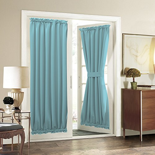 Aquazolax Blackout Door Curtain 54x72 Inches Drapery Solid Premium - 1 Panel, Turquoise