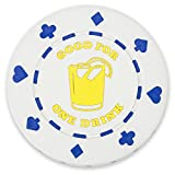 Pack of 25 White '1 Drink' Bar Token Poker Chips by Brybelly