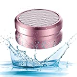 ASYOREN Waterproof Bluetooth Speaker, Mosquito Repellent Bluetooth Speakers for Shower Home Beach Travel Hiking Camping Sport, AUX TF Card FM MP3 Player TWS Wireless Mini Portable Metal Speaker (Pink)