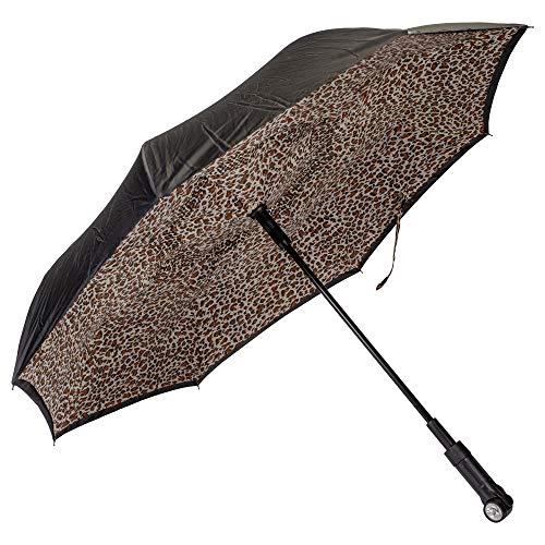 Leopard Black Revers-A-Brella Portable No Drip Inverted Auto Open Lighted Handle Umbrella