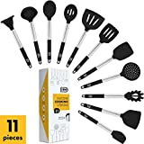 Klee 11-Piece Heat-Resistant Silicone Kitchen Utensil Set with Stainless Steel Handles (Black)