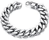 OSTAN Men's Stainless Steel Bracelet 14mm Width Curb Chain Link Bracelet (Width : 1.4cm Length: 22cm)