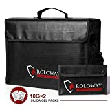 ROLOWAY Large (17'x12'x5.8') Fireproof Bag, Upgraded XL Fireproof Document Bags with Bonus Bag, Fireproof Safe and Water Resistant Bag for Money, Legal Documents, Files, Valuables