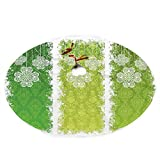 """GULTMEE Christmas Tree Skirt 30"""", Aged Vintage Antique on Green Toned Color Bands Celtic Historic Lace Image"""