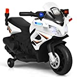 Costzon Kids Police Motorcycle, 6V Electric Battery Powered Ride On Bike w/ Training Wheels, Police Lights & Siren Sound, Headlights & Music, Pedal, Rechargeable Electric Toy for Boys & Girls (White)