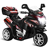 Costzon Ride On Motorcycle, 6V Battery Powered 3 Wheels Electric Bicycle, Ride On Vehicle with Music, Horn, Headlights for Kids (Black)