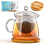 Everything Zen Teapot and Infuser Set with Bamboo Trivet in Beautiful Gift Box - Premium Quality Glass - Stainless Steel Removable Tea Strainer for Microwavable Kettle - Loose Leaf & Blooming Tea Pot
