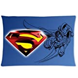 Custom Superman Soft Zippered Pillowcases Pillow Case Cover Standard Size 20x30 Inch Two Sides Print by Generic Pillowcovers