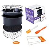 Deep Fryers Universal Air Fryer Accessories Including Cake Barrel,Baking Dish Pan,Grill,Pot Pad, Pot Rack with Silicone Mat by Bellagione (8 pcs regular)
