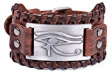 TEAMER Vintage Amulet Eye of Horus Leather Bracelet Cuff Bangle Egyptian Talisman Pagan Jewelry (Antique Silver,Brown)