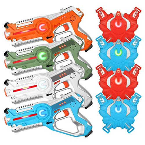 Super Joy Laser Tag Sets with Gun and Vest-Infrared Laser Tag Gun Set of 4-Laser Tag Game Set for Kids Multiplayer Indoor & Outdoor Game, Best Gift for Boys and Girls -Infrared 0.9mW