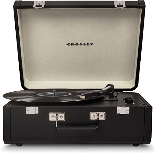 Crosley Portfolio Vintage 3-Speed Bluetooth Suitcase Turntable with Built-In Speakers, Black