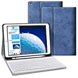 JUQITECH Keyboard Case with Built-in Pencil Holder for iPad Air 3 10.5' 2019 (3rd Gen)/iPad Pro 10.5' 2017, Auto Sleep/Wake Detachable Wireless Bluetooth Keyboard Magnetic Smart Case Cover, Blue