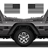 Classic Biker Gear Subdued American Flags Tactical Military Flag USA Decal Jeep 5'x3' Pair (Gloss Black)