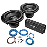 Skar Audio (2) SDR-12 D4 1,200 Watt Max Power 12' Subwoofers with RP-1500.1D Monoblock Sub Amplifier and 4 Gauge Amp Kit