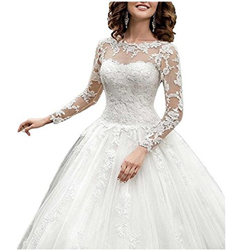 Fair Lady 2017 New Women\'s Long Sleeves Scoop Lace Ball Gown Wedding ...