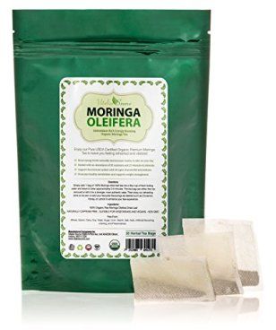 Organic Moringa Tea Bags - All Natural 100% Certified Pure Raw Dried Leaf - Highly Nutritious Energizer and Refresher - Caffeine Free - Love it or your Money back