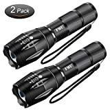 Flashlights, Tactical Flashlight, FMU High Lumen LED Flashlights Portable Water Resistant Torch Light Zoomable Flashlight with 5 Light Modes - Best Camping, Outdoor, Emergency Flashlights, 2 Pack
