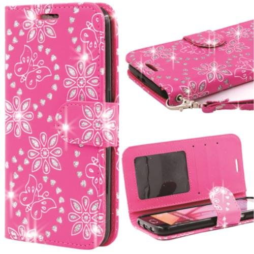 Butterfly Floral Bling Wallet LG Stylo 3/Plus/TP450/LS777 (Hot Pink)