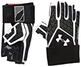 Under Armour Men's Combat V Half-Finger Football Gloves, White (100)/White, Large