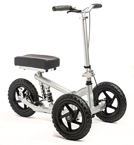 KneeRover PRO All Terrain Knee Walker Aluminum Scooter with Shock Absorber - Silver