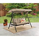 Mainstay Durable Rust-Resistant Powder-Coated Steel Frame 3-Person Canopy Porch Swing Bed, (Tan) + Free Cleaning Dust Cloth