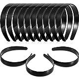 Hestya 1 Inch Black Plain Craft Plastic Headbands with Teeth Plastic DIY Hair Accessories Headbands Headwear (40 Pack)
