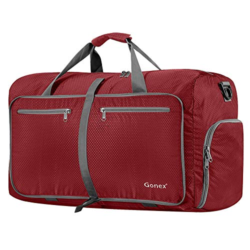 Gonex 80L Packable Travel Duffle Bag, Large Lightweight Luggage Duffel (Red)